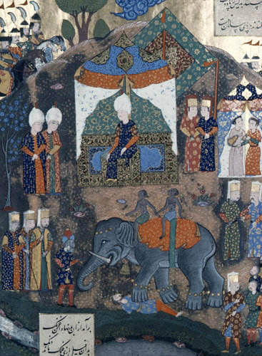 Suleyman watching elephant trampling on man, 16th century miniature from ms 1517, p 98A, Conquests of Suleyman, Topkapi Palace Museum, Istanbul, Turkey