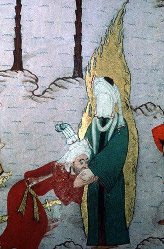 Caliph kissing the Prophet