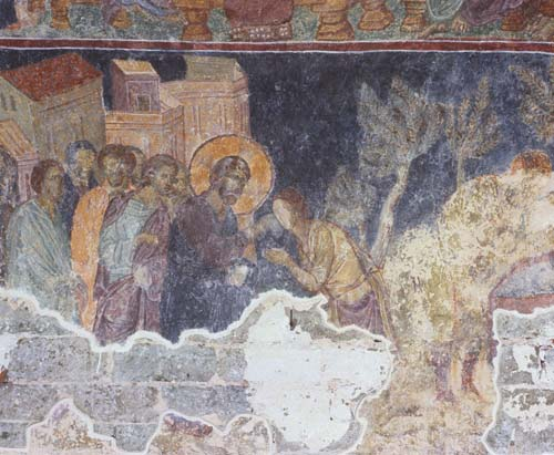 Jesus cures the blind man at the Pool of Siloam, 13th century wall painting in the narthex, Hagia Sophia, Trabzon, Turkey