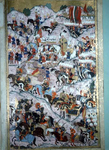 Suleyman at the Battle of Mohacs, 16th century miniature from MS H.1524 p256, Topkapi Palace Museum, Istanbul, Turkey