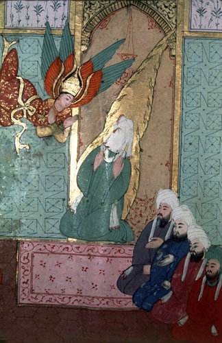 Prophet with first muslims Abu Bakr, Osman and Ali sixteenth century illumination in MS H1223, Life of the Prophet, Topkapi Palace Museum, Istanbul, Turkey