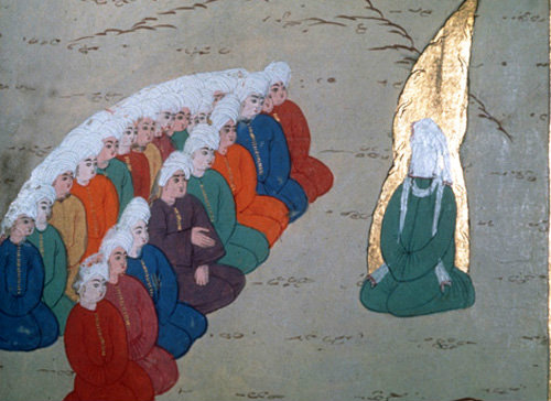 Mohammed preaching to his first followers, sixteenth century illumination in MS H1223, Life of the Prophet, Topkapi Palace Museum, Istanbul, Turkey