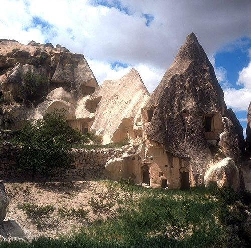 Cone dwellings in the Goreme Valley, Cappadocia, Turkey