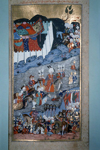 Suleyman the Magnificent crossing the river to Baghdad, 16th century miniature in ms H 1524 page 261a, Topkapi Palace Museum, Istanbul