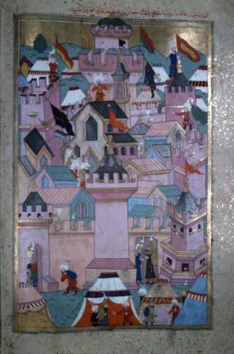 Suleyman the Magnificent captures Istolni Bedgrad in Hungary, 16th century miniature in ms H 1524 page 268b, Topkapi Palace Museum, Istanbul