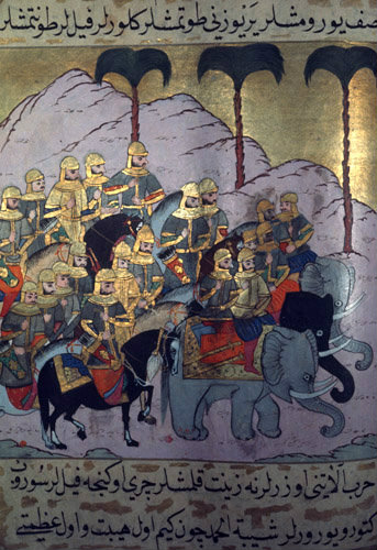 The attack on Medina, miniature from ms H 1223, Life of the Prophet, Topkapi Palace Museum, Istanbul
