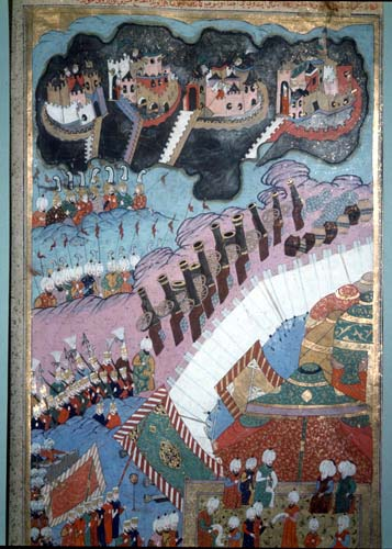 Suleymans generals at the Battle of Zigetvar, miniature from 16th century MS H.1524 p277b, Topkapi Palace Museum Istanbul, Turkey