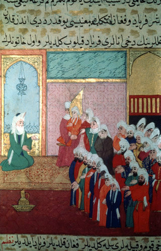 Mother of the Prophet being told that she will give birth to him, miniature from ms H 1223, Life of the Prophet, Topkapi Palace Museum, Istanbul