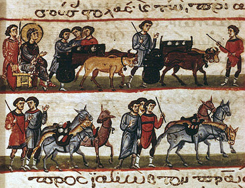 Joseph sending his brothers back with food, twelfth century Byzantine illuminated manuscript, page 137, Topkapi Palace Museum, Istanbul, Turkey