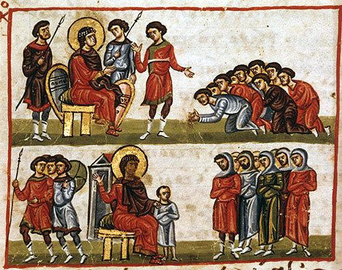 Joseph sending his brothers back to Jacob, twelfth century Byzantine Illuminated manuscript, page 136B, Topkapi Museum, Istanbul, Turkey