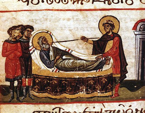 Joseph with his father Jacob, miniature in twelfth century Byzantine Illuminated manuscript, Topkapi Museum, Istanbul, Turkey