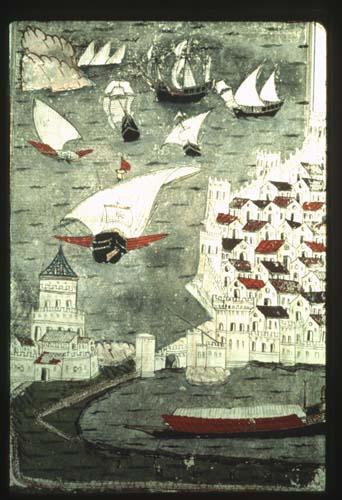 Barbarossas ships, miniature from 16th century MS, Topkapi Palace Museum, Istanbul, Turkey