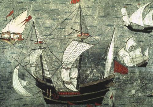 Barbarossas ships, 16th century manuscript, Topkapi Palace Museum, Istanbul, Turkey