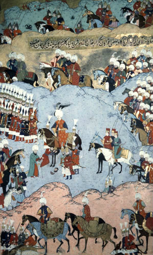 Suleyman at Bugdan (Moldavia) in Hungary, 16th century miniature from ms H.1524 p 264A, Book of Accomplshments, Topkapi Palace Museum Istanbul, Turkey