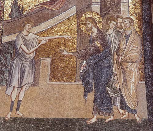 Jesus Christ heals man with withered hand, 14th century mosaic, Kariye Camii, Istanbul, Turkey