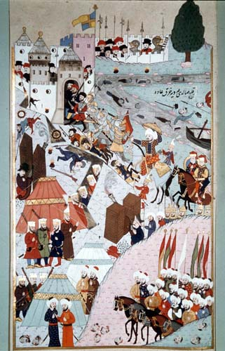 Mehmed II besieging Belgrade, miniature from 16th century MS H.1523 p165a, Topkapi Palace Museum Istanbul, Turkey