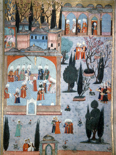 Interior of Kubbealti Tower  and Topkapi Gardens, 16th century miniature in ms H 1524 page 237b, Topkapi Palace Museum, Istanbul