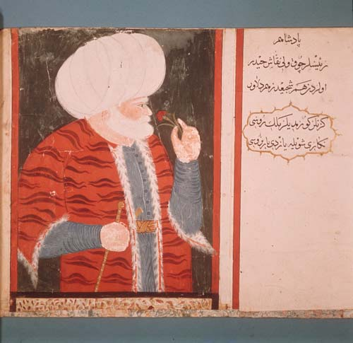 Admiral Barbarossa, miniature from 16th century MS H.2134, Topkapi Palace Museum, Istanbul, Turkey