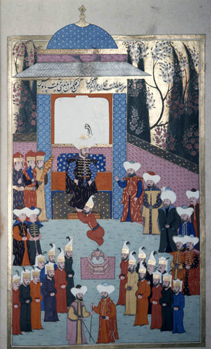 Murad I giving audience, 16th century miniature from ms H.1523 p 75B, Book of Accomplishments, Topkapi Palace Museum, Istanbul, Turkey