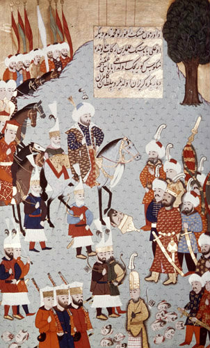 Mehmed II at death of King Uzun Hassan of Persia, 16th century miniature from ms H.1523 p 170B, Book of Accomplishments, Topkapi Palace Museum, Istanbul