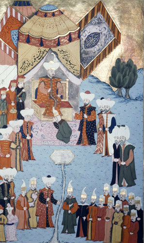 Beyazid I giving audience, 16th century miniature from ms H.1523 p 96B, Book of Accomplishments, Topkapi Palace Museum, Istanbul, Turkey