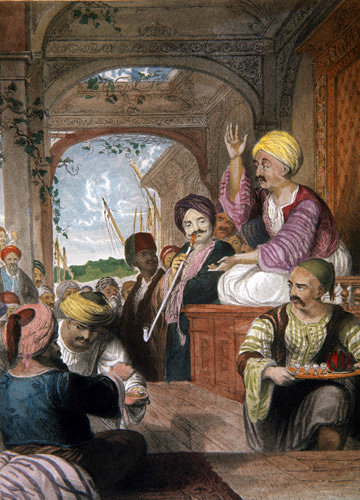 The Storyteller in Constantinople 1840 engraving by Thomas Allom painted by Laura Lushington