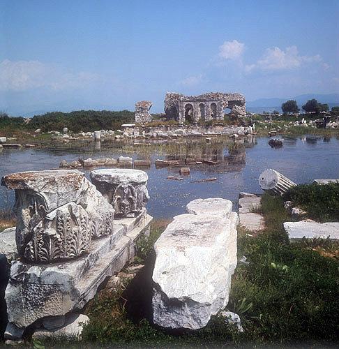 View across to second century AD Roman Nymphaion, Miletus, Turkey
