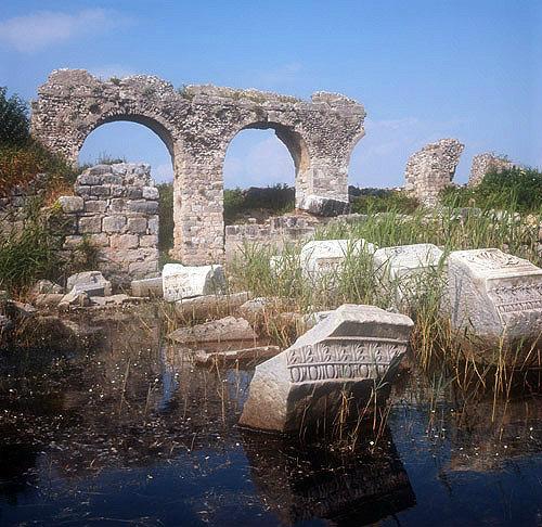 Basilica, fifth century AD, part under water, Miletus, Turkey