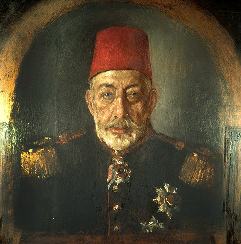 Sultan mehmed v 1909 1918 portrait in the topkapi palace for Amida house istanbul