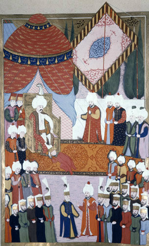 Selim I being enthroned, 16th century miniature from ms H.1523 p 201A, Book of Accomplishments, Topkapi Palace Museum, Istanbul, Turkey