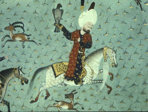 Suleyman hawking, detail from MS H.1517, Conquests of Suleyman, 16th century illuminated manuscript, Topkapi Palace Museum, Istanbul, Turkey