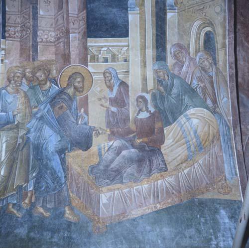 Raising Jairus Daughter, 14th century wall painting, Kariye Camii, Istanbul, Turkey