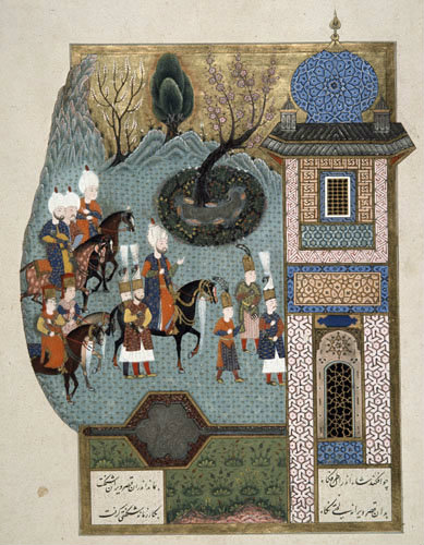 Suleyman approaching palace, 16th century miniature from ms H.1517 p 367, Conquests of Suleyman, Topkapi Palace Museum, Istanbul, Turkey