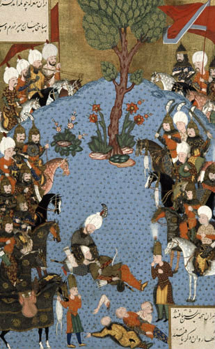 Death of Huseyin Pasa, 16th century miniature from ms 1517 p 235, Conquests of Suleyman, Topkapi Palace Museum, Istanbul, Turkey