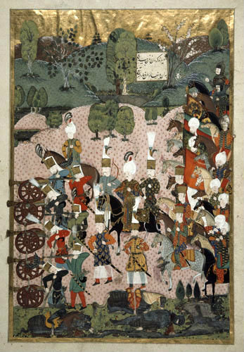 Battle scene, 16th century miniature from ms H.1517 p 219, Conquests of Suleyman, Topkapi Palace Museum, Istanbul, Turkey