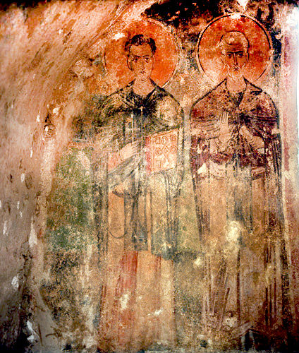 Two saints painted over tomb in church of St Nicholas, Myra, Turkey