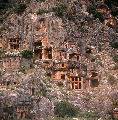Turkey, Myra, rock-cut tombs dating from the Lycian period 4th century BC