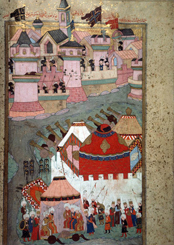 Suleyman the Magnificent besieging Vienna, 16th century miniature in ms H 1524 page 257b, Topkapi Palace Museum, Istanbul