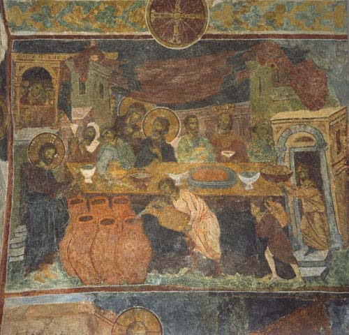 Marriage at Cana, 13th century mural, Hagia Sophia, Trabzon, Turkey