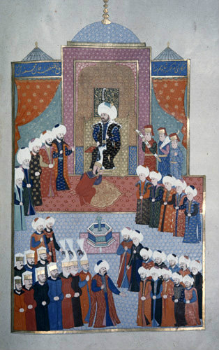 Enthroning of Mehmet II, 16th century miniature from ms H.1523 p 153B, Book of Accomplishments, Topkapi Palace Museum, Istanbul