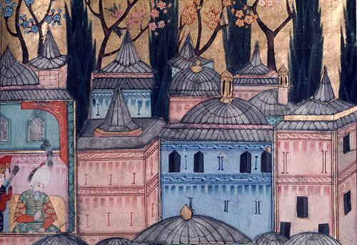 Topkapi Palace, 16th century miniature in ms H 1524 page 237b, Topkapi Palace Museum, Istanbul