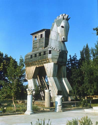Trojan Horse, wooden model Troy, Turkey