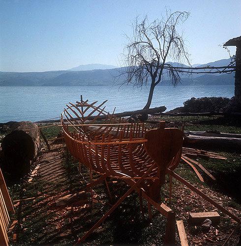 Boatyard on shore of Lake Egridir near Antioch, Pisidia, Turkey