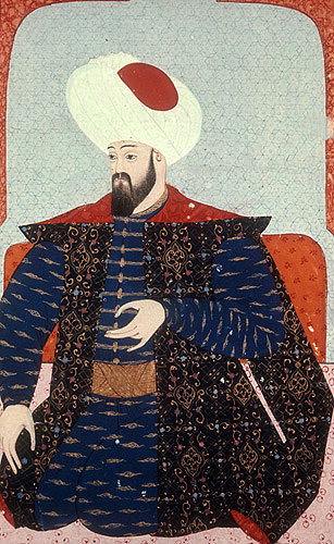 "Osman I, portrait from sixteenth century manuscript, H 1563, ""The Genealogy of the Ottoman Sultans"", in the Topkapi Palace Museum, Istanbul, Turkey"