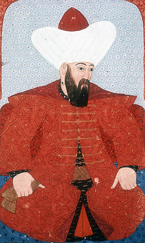 "Orhan I, portrait from sixteenth century manuscript, H 1563,  ""The Genealogy of the Ottoman Sultans"", in the Topkapi Palace Museum, Istanbul, Turkey"
