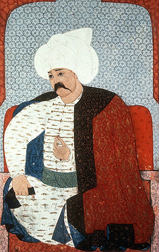 "Selim I, portrait from sixteenth century manuscript, H 1563, ""The Genealogy of the Ottoman Sultans"", Topkapi Palace Museum, Istanbul, Turkey"
