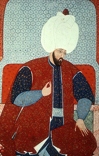 "Suleyman I, portrait from sixteenth century manuscript, H 1563, ""The Genealogy of the Ottoman Sultans"", Topkapi Palace Museum, Istanbul, Turkey"