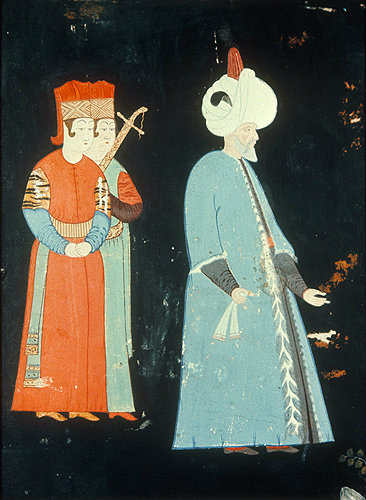 Suleyman the Magnificent and two pages, sixteenth century painting by Nigari, Topkapi Palace Museum, Istanbul,Turkey