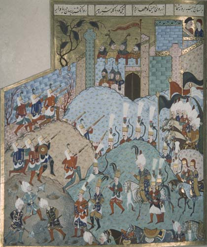 Suleyman captures Rhodes, 16th century manuscript, MS H.1517, Topkapi Palace Museum, Istanbul, Turkey