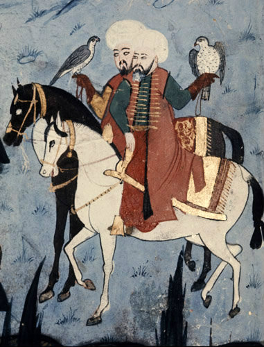 Suleyman hunting with hawks, 16th century miniature from ms H.1524 p 248A, Book of Accomplishments, Topkapi Palace Museum, Istanbul, Turkey